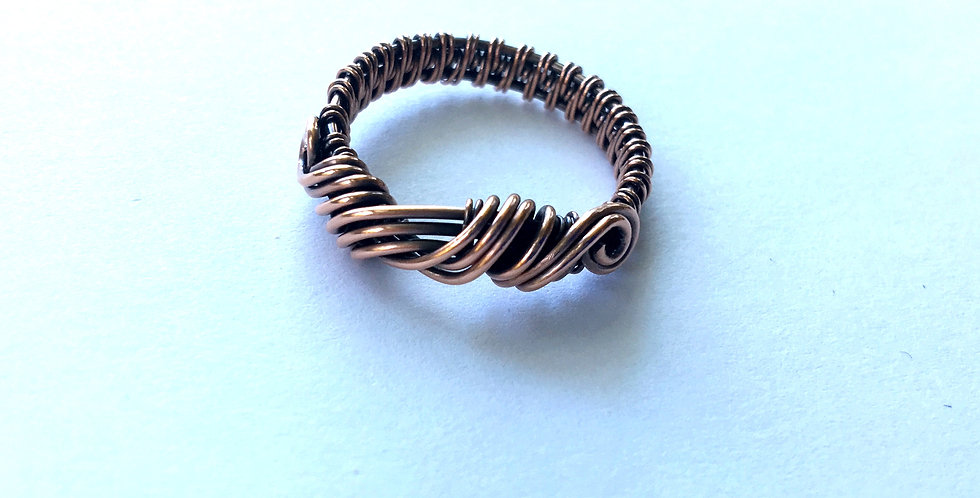 Copper Twist Ring Sz 8 1/2