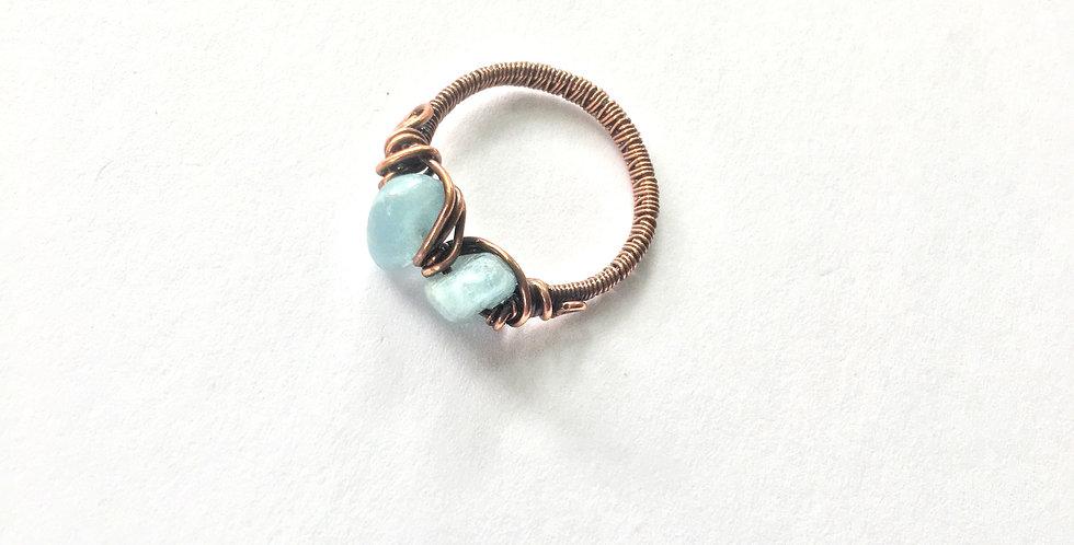 Aquamarine 2 Chip Ring Sz. 10