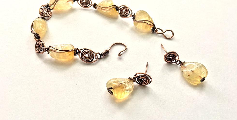 Citrine & Copper Bracelet & Earring Set