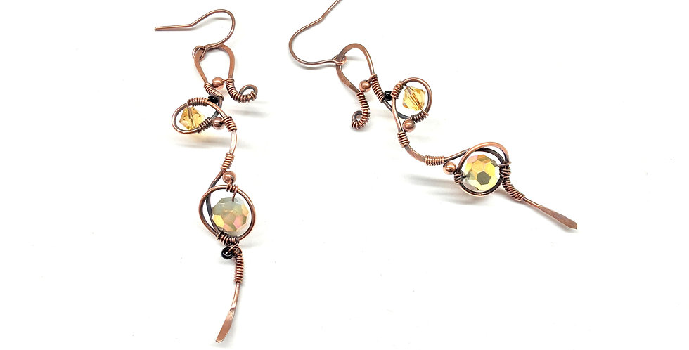 Long Whimsical Copper Loops & Beads 1