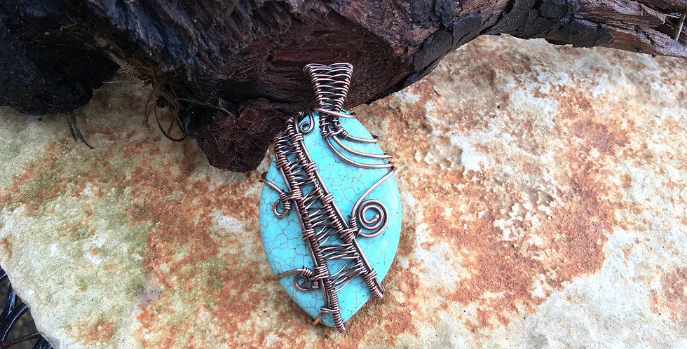 Turquoise-like Marquise Stone in Copper