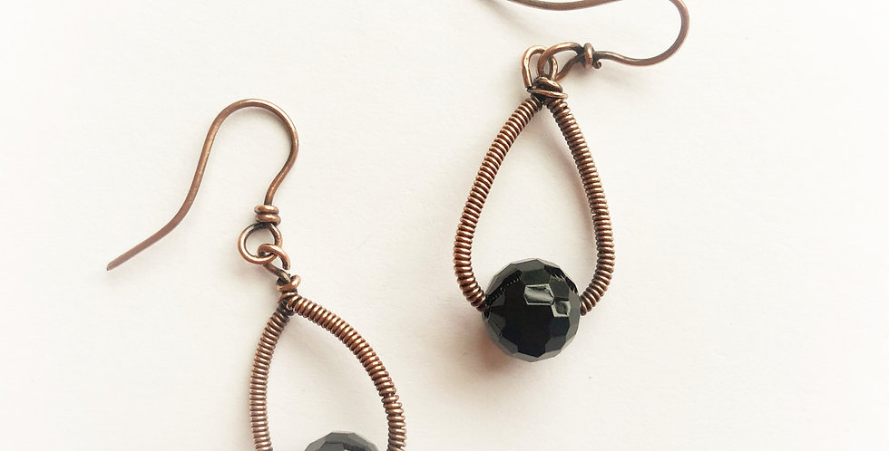 Black Onyx Bead in Coiled Loops