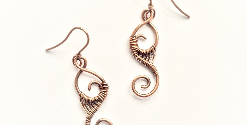 Webbed Copper Spirals