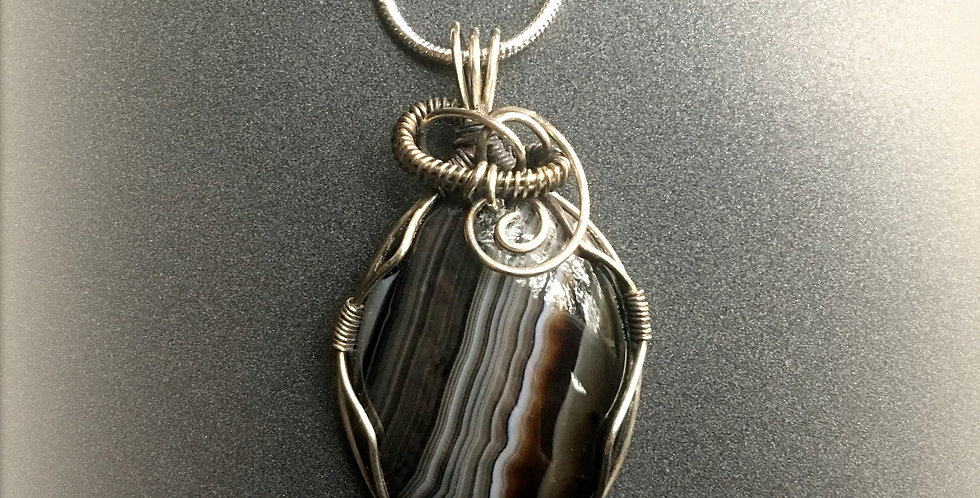 Black & Gray Striped Agate Oval in Sterling