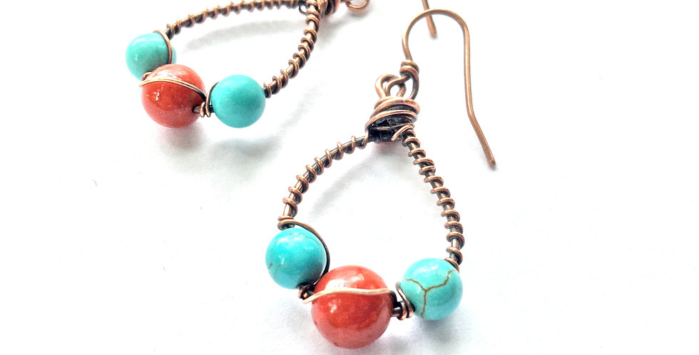 Turquoise & Coral Loops