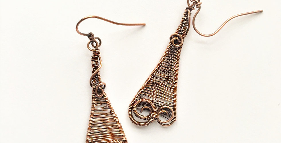 Long Woven Whimsies in Antiqued Copper