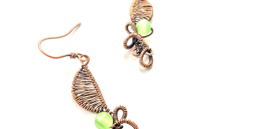 Green Cat's Eye Beads in Copper Swirls