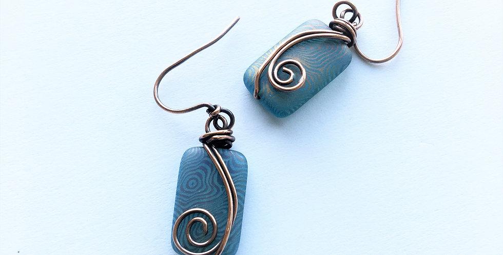 Czech Glass & Copper Swirls