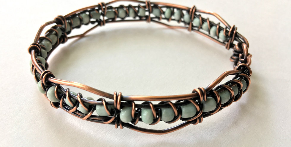 Woven Copper and Blue Beads Bangle