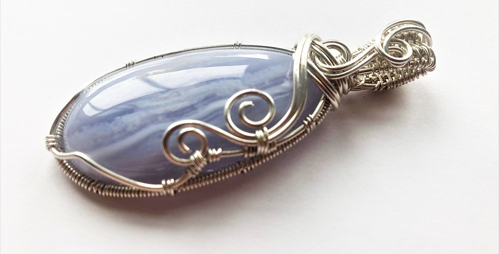 Blue Lace Agate Oval in Sterling Silver