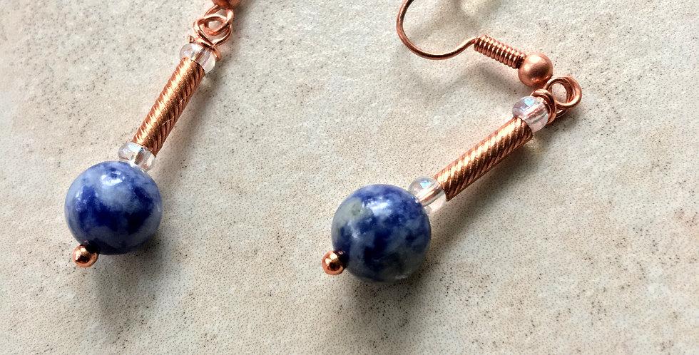 Sodalite Bead and Bright Copper