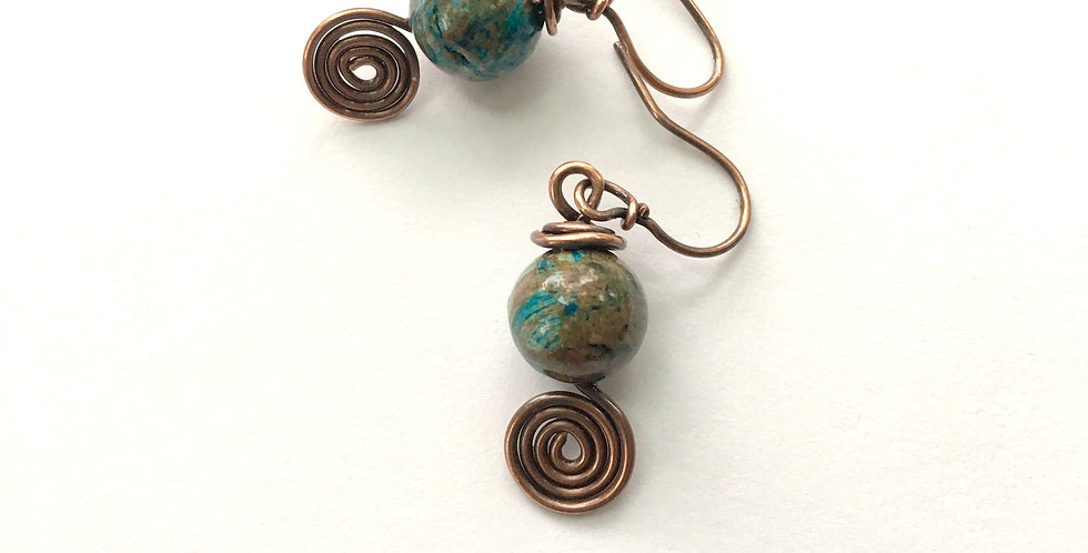 Blue & Brown Turquoise Bead & Spirals