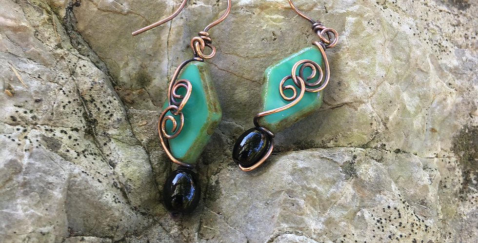 Czech Glass & Copper Swirls