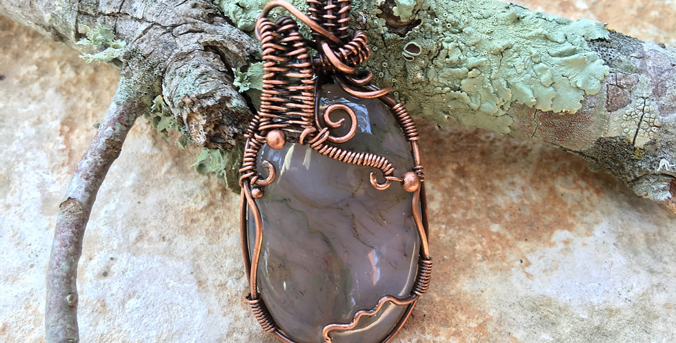 Pink & Green Moss Agate Oval in Copper