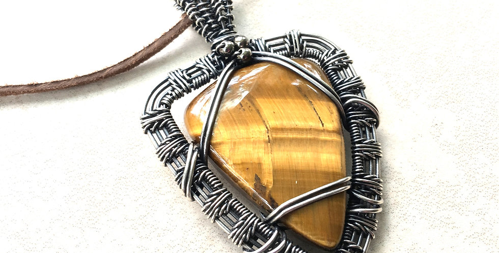 Tiger Eye Triangle in Sterling Silver