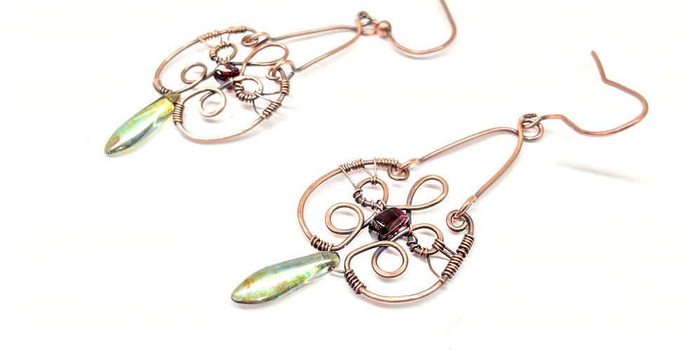 Dangle Earrings With Garnet & Glass