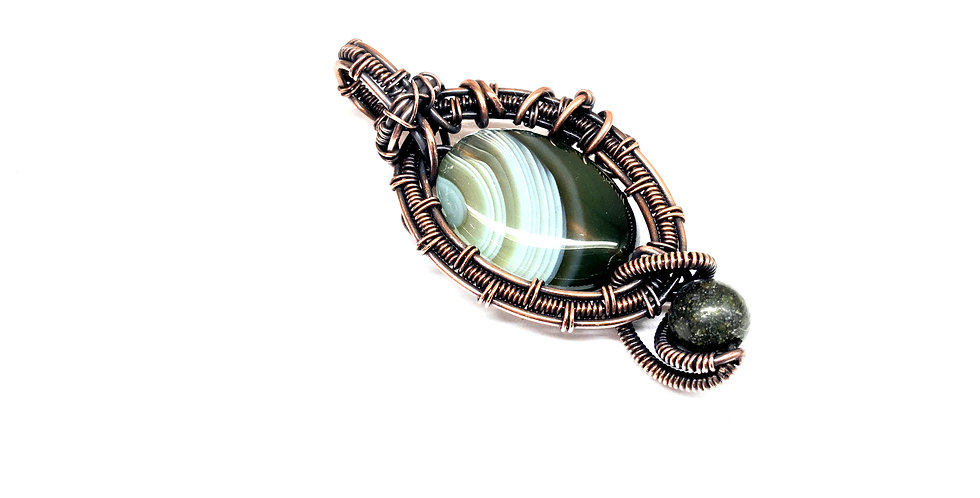 Green Striped Agate Oval in Copper