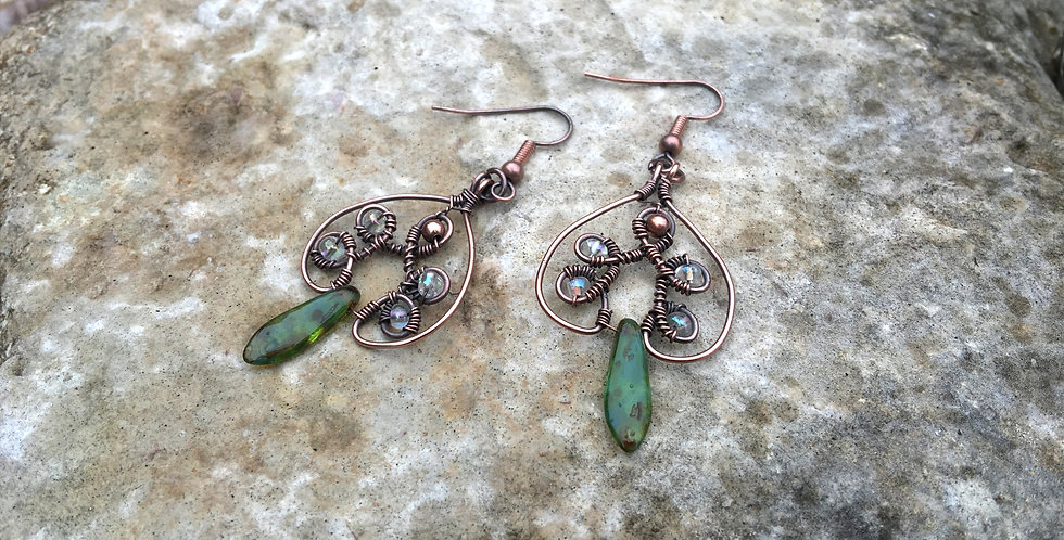 "Loopy ""Spades"" with Glass & Copper Beads"