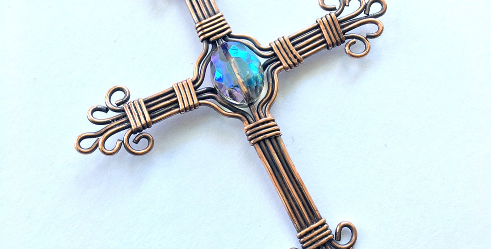 Copper Cross with Glass Bead