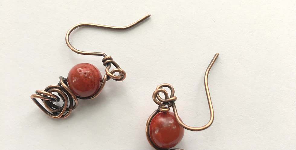 Coral Beads & Copper Tangle