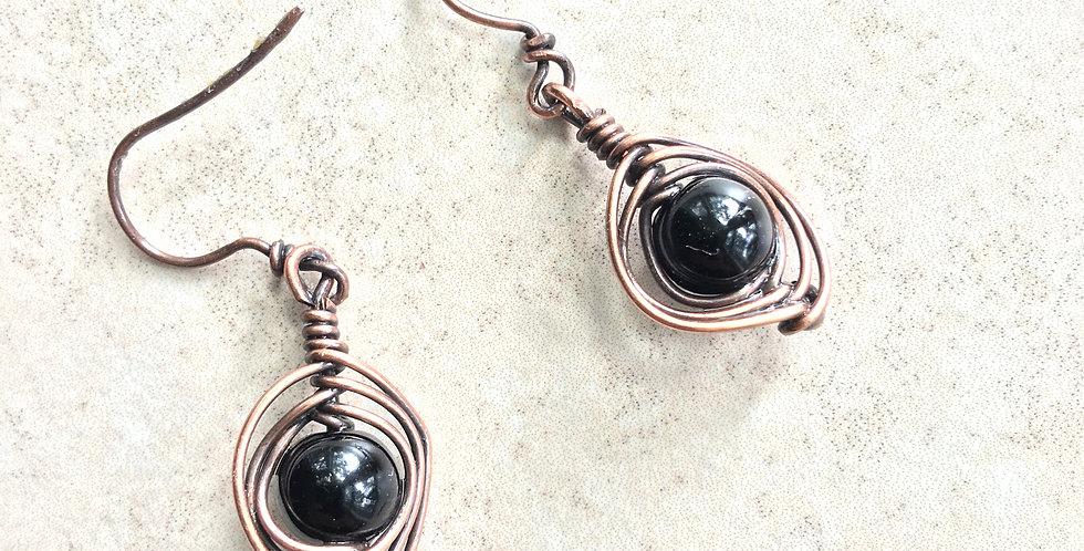 Herringbone Weave & Black Glass Bead