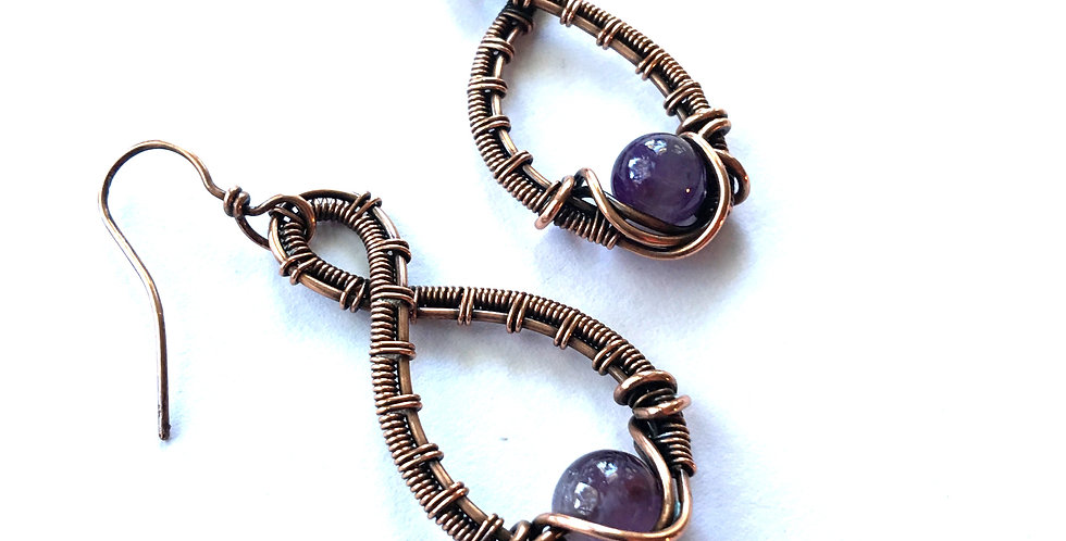 Woven Loops & Amethyst Beads