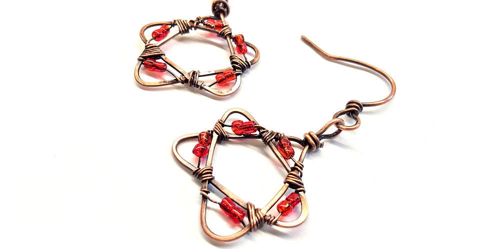 Red Glass Beads in Copper Stars