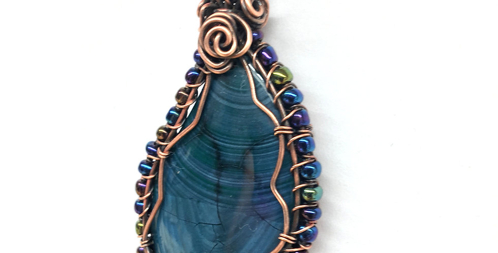 Dark Teal Striped Agate Leaf Shape