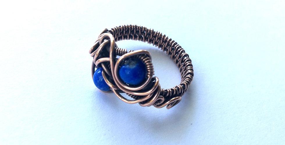 Lapis 2 Bead Ring Sz 7