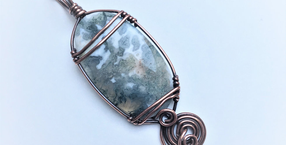 Moss Agate Rustic Oval