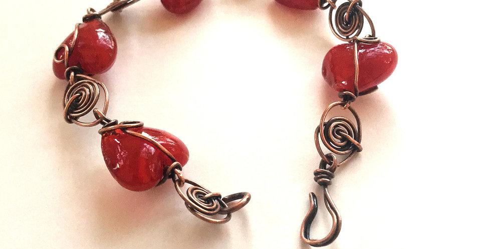 Lampwork Glass and Spirals Bracelet