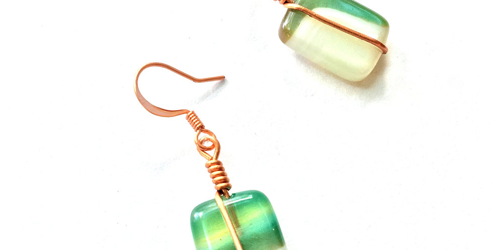 Green & White Agate Oblongs