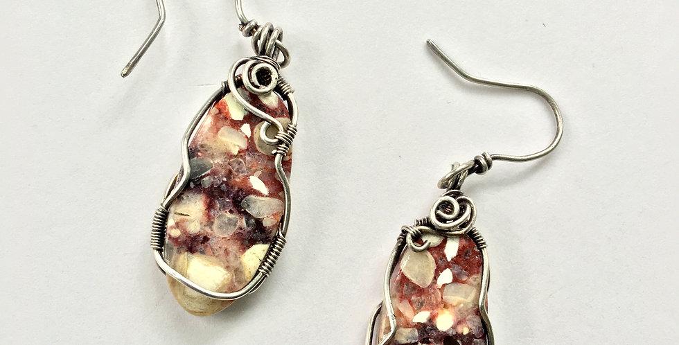 Breccated Mookaite Jasper in Silver