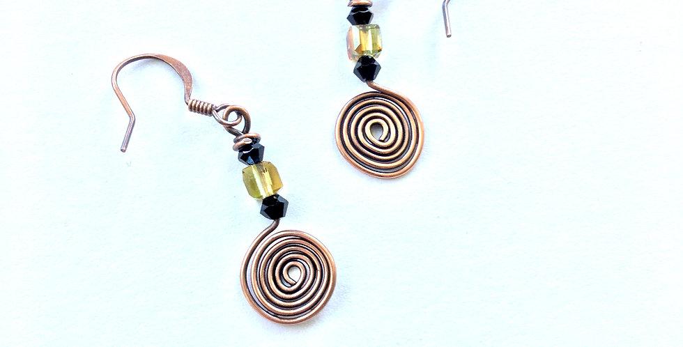 Copper Spiral & Glass Beads