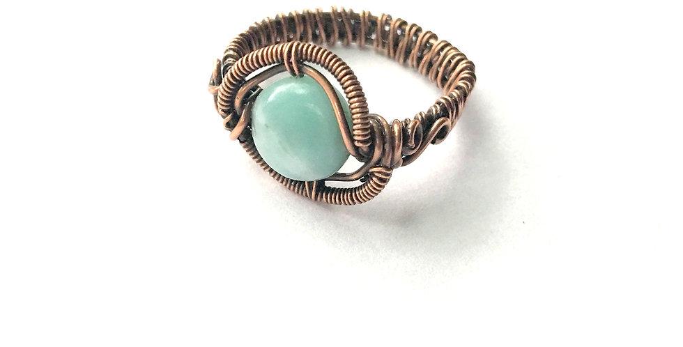 Amazonite Bead Ring Sz 10