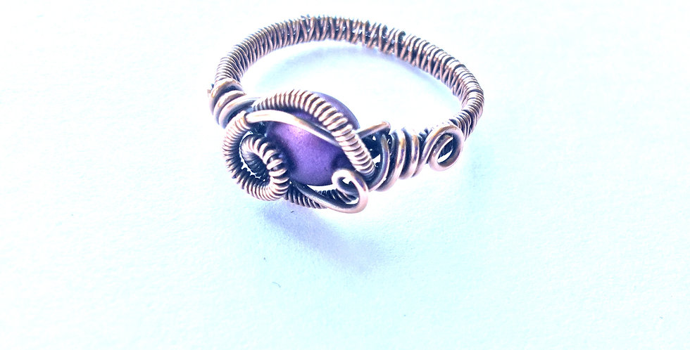 Silky Purple Resin Bead Ring Sz 9 1/2