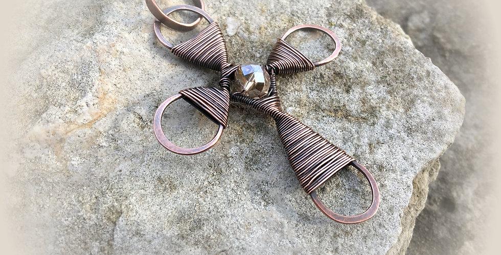 Rustic Hammered Copper Cross