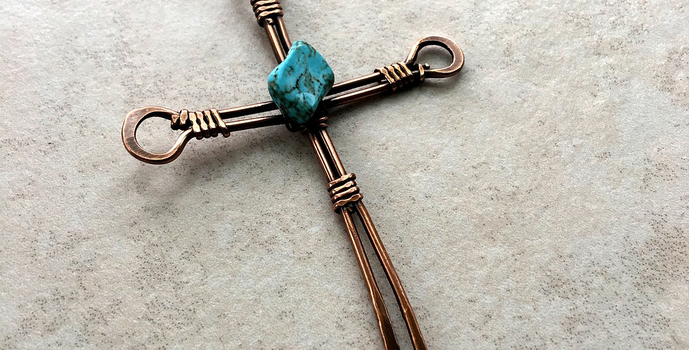 Rustic Copper Cross with Turquois
