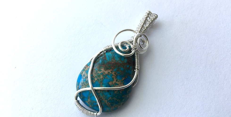 Sea Sediment Jasper Teardrop in Sterling Silver