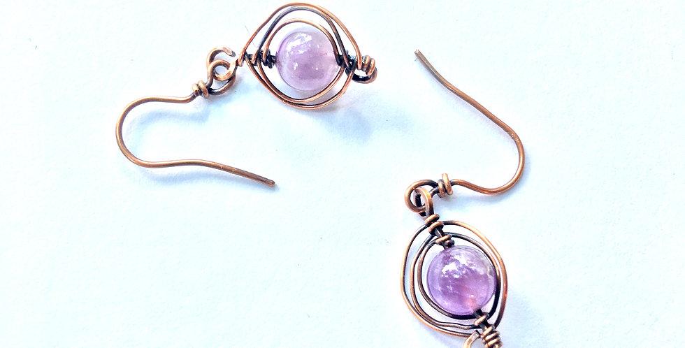 Herringbone Weave & Amethyst Beads