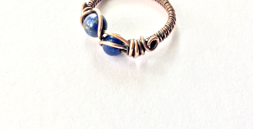 Lapis Lazuli 2 Bead Ring Sz 8