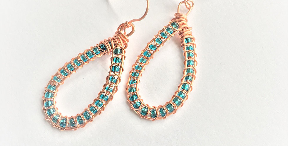 Beaded Bright Copper Loops
