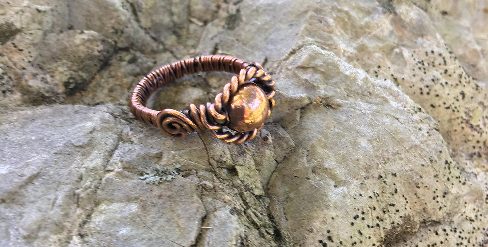 All Copper Bead Ring Sz. 4 1/2
