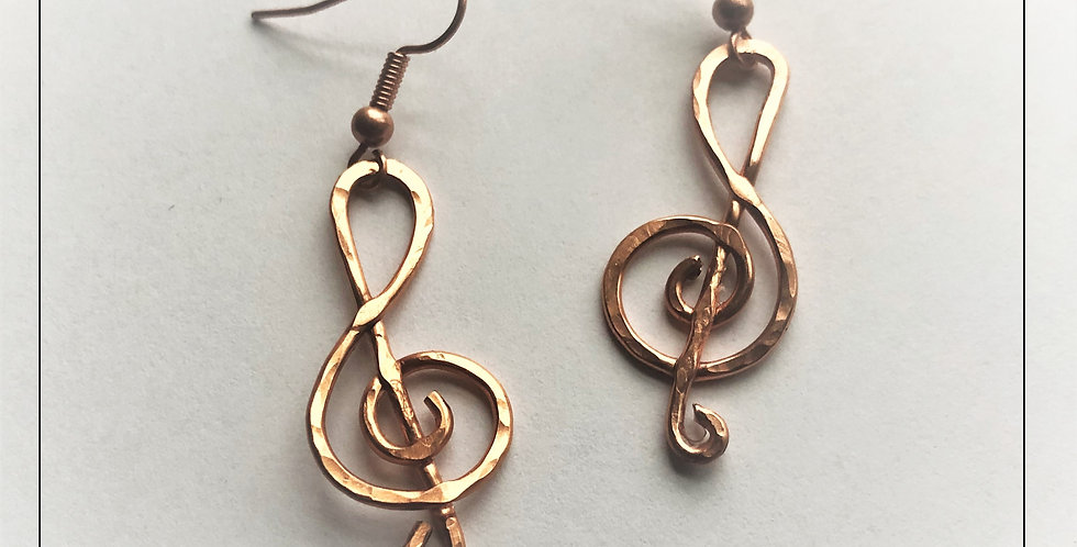 Hammered Copper Clefs - 1 1/4""