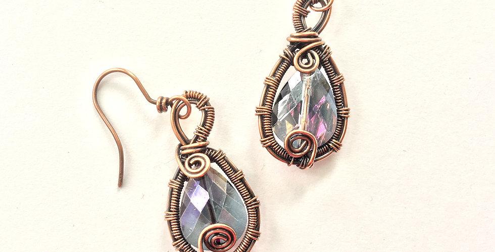 Sparkley Teardrops in Woven Copper