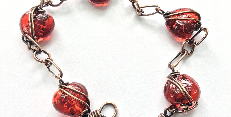 Lampwork Glass Hearts Bracelet