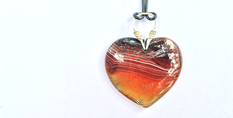 Coffee Stripe Agate Heart