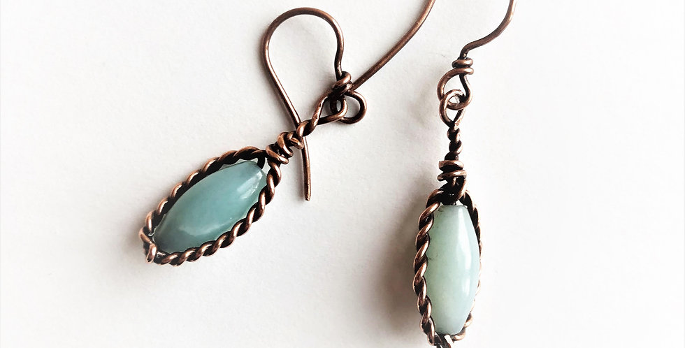 Amazonite Beads in Twisted Copper