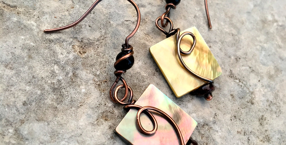 Abalone Squares & Copper Twists