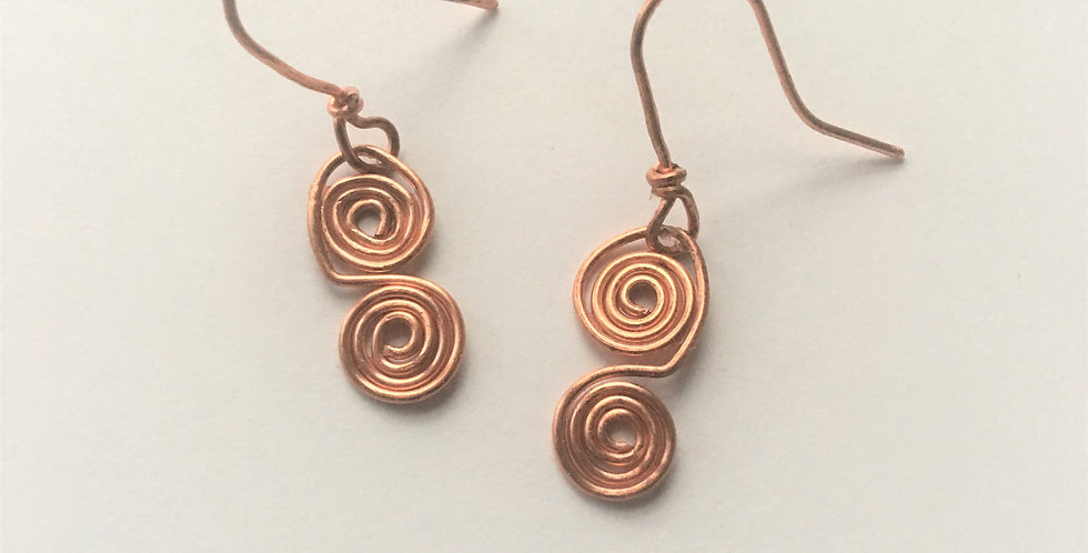Tiny Hammered Copper Spirals